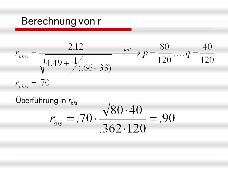Berechnung von r Überführung in rbis