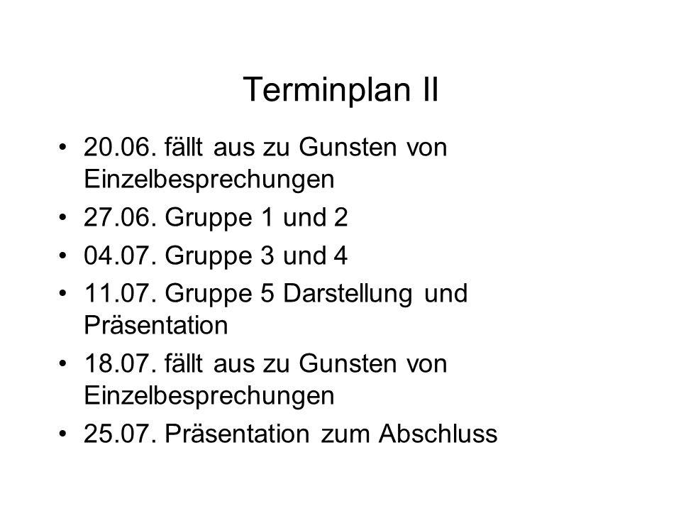 Terminplan II 20.06. fällt aus zu Gunsten von Einzelbesprechungen