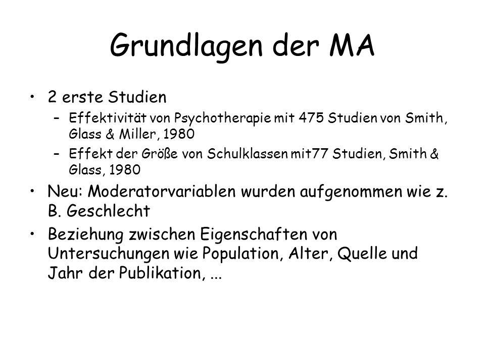 Grundlagen der MA 2 erste Studien