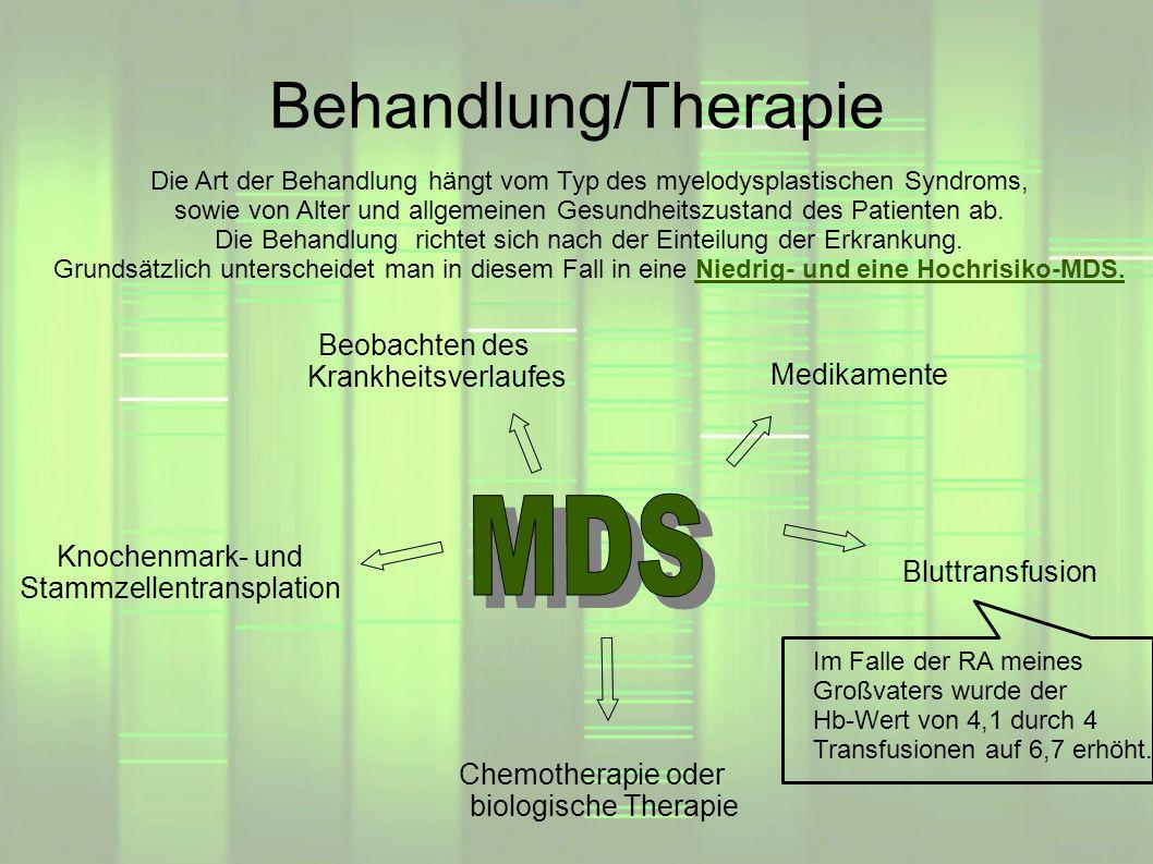 Behandlung/Therapie MDS Beobachten des Krankheitsverlaufes Medikamente