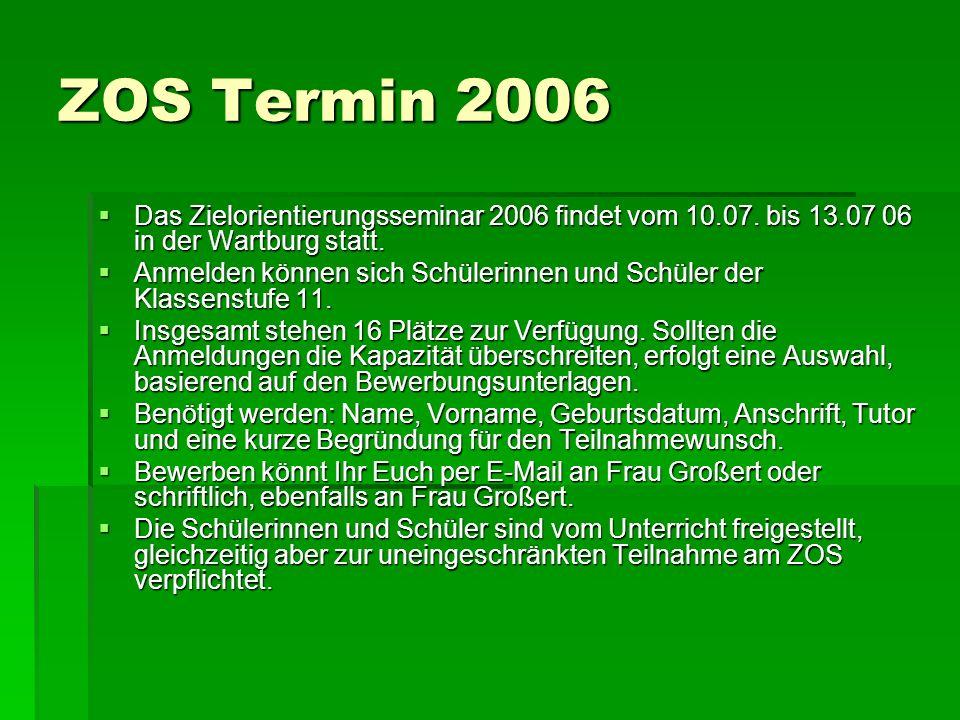 ZOS Termin 2006 Das Zielorientierungsseminar 2006 findet vom 10.07. bis 13.07 06 in der Wartburg statt.