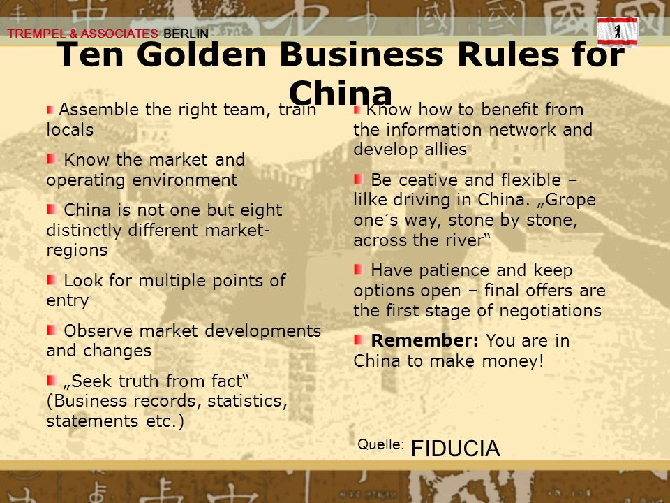 Ten Golden Business Rules for China