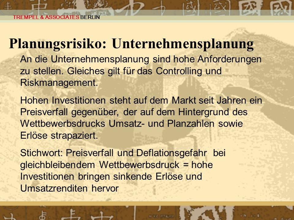 Planungsrisiko: Unternehmensplanung
