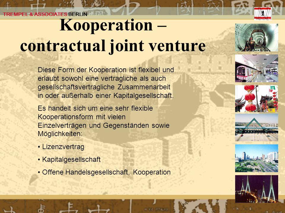 Kooperation – contractual joint venture