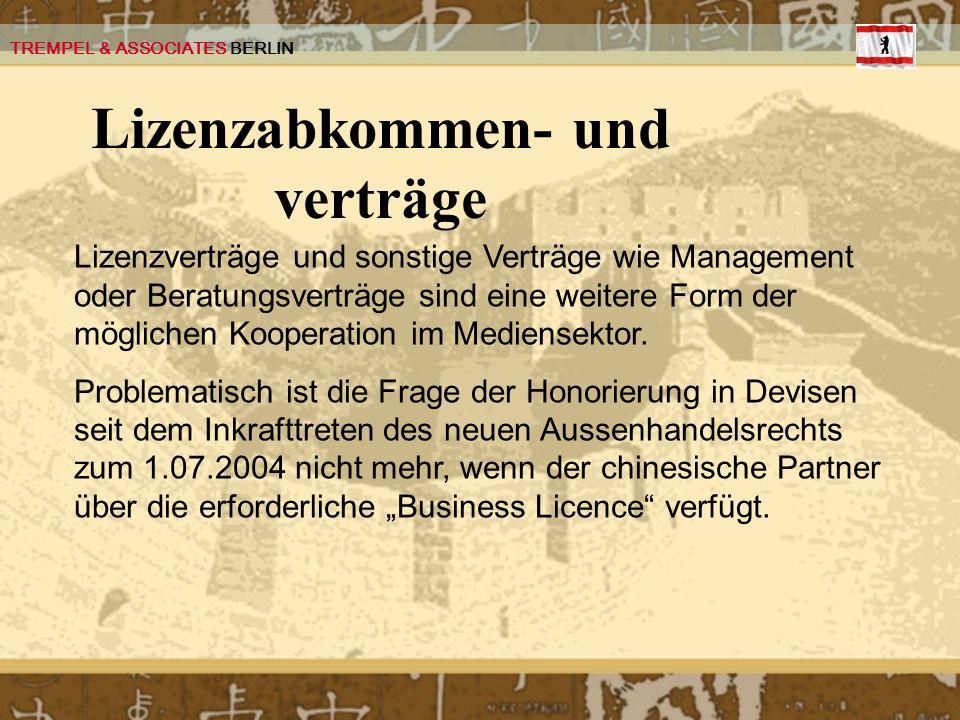 Lizenzabkommen- und verträge