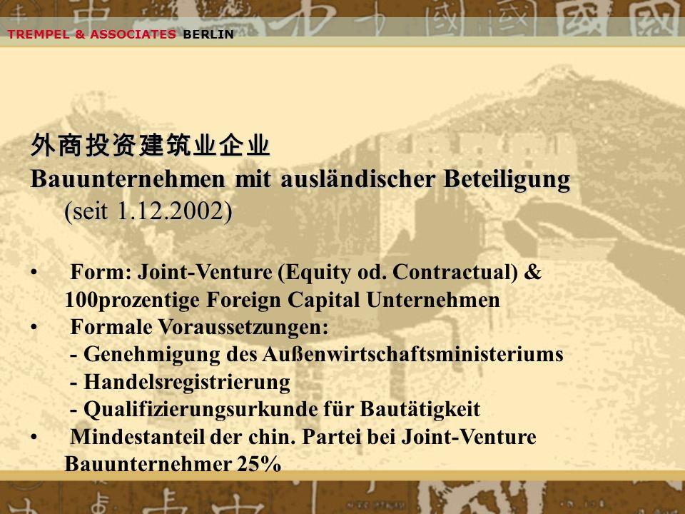 Bauunternehmen mit ausländischer Beteiligung (seit 1.12.2002)