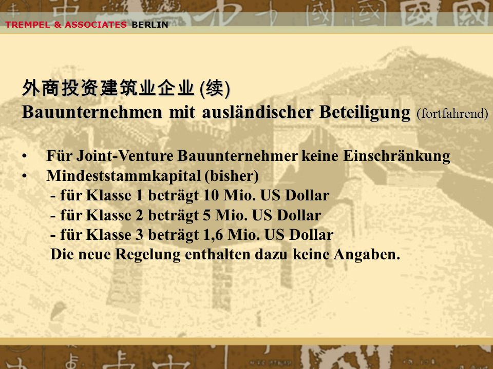 Bauunternehmen mit ausländischer Beteiligung (fortfahrend)
