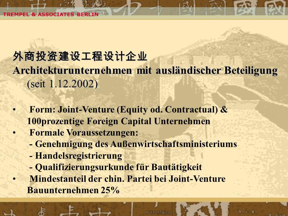 Architekturunternehmen mit ausländischer Beteiligung (seit 1.12.2002)
