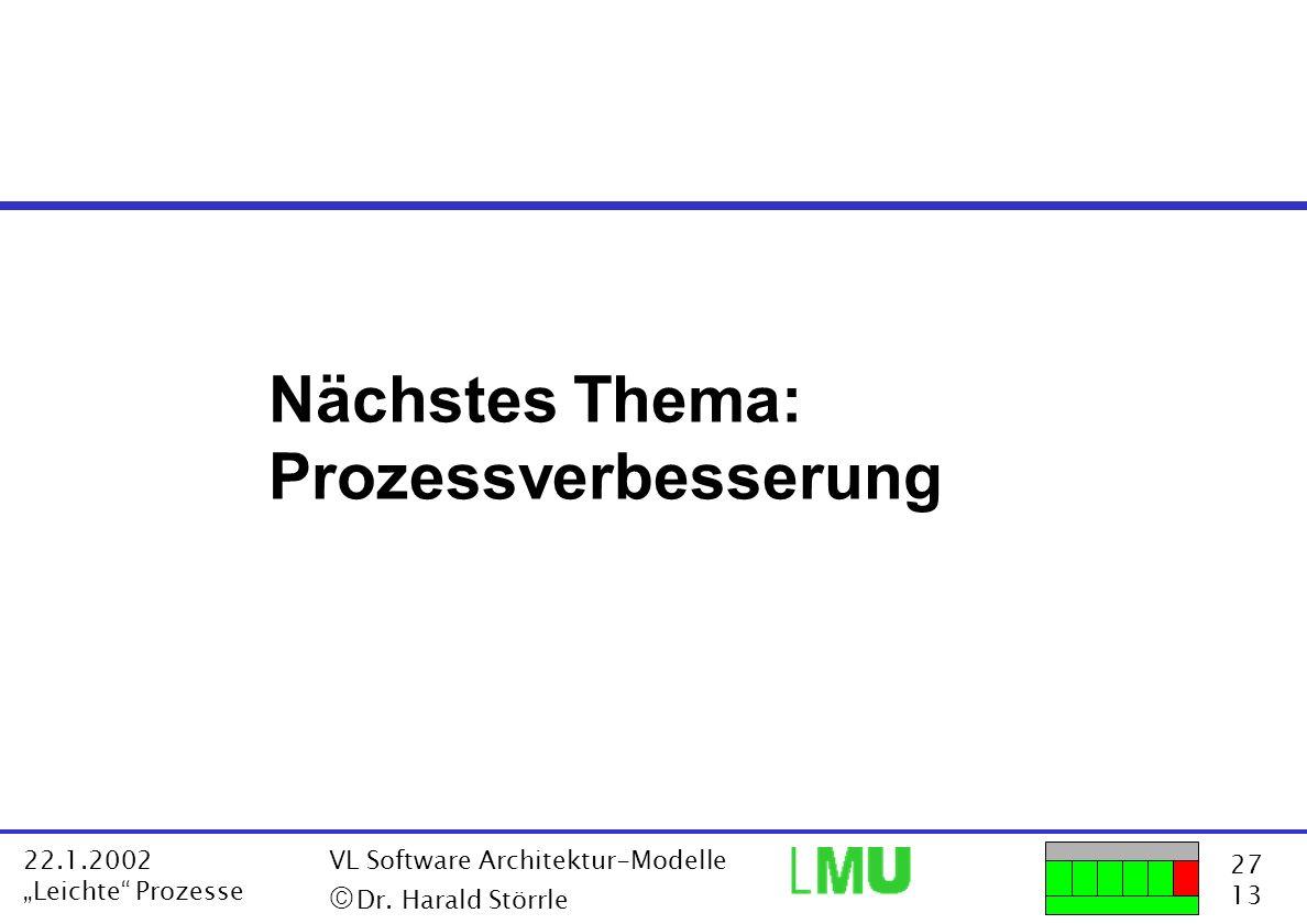 Nächstes Thema: Prozessverbesserung ã Dr. Harald Störrle 22.1.2002