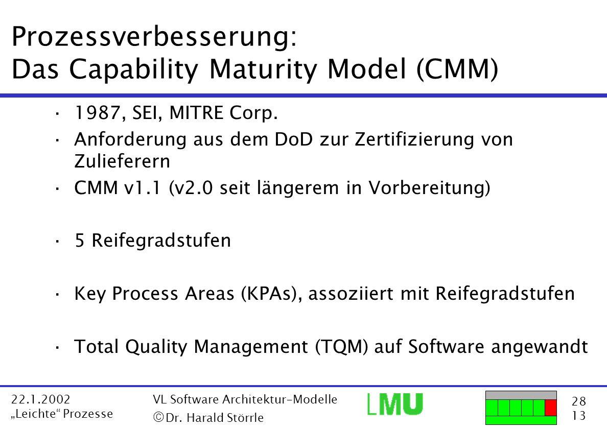 Prozessverbesserung: Das Capability Maturity Model (CMM)