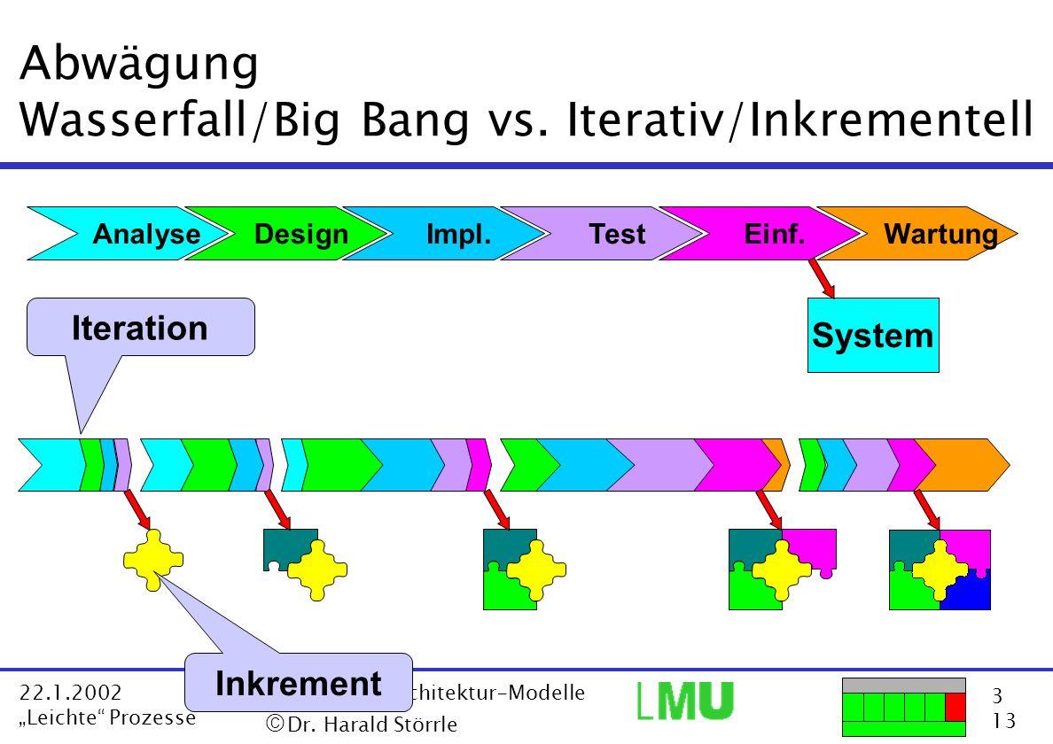 Abwägung Wasserfall/Big Bang vs. Iterativ/Inkrementell