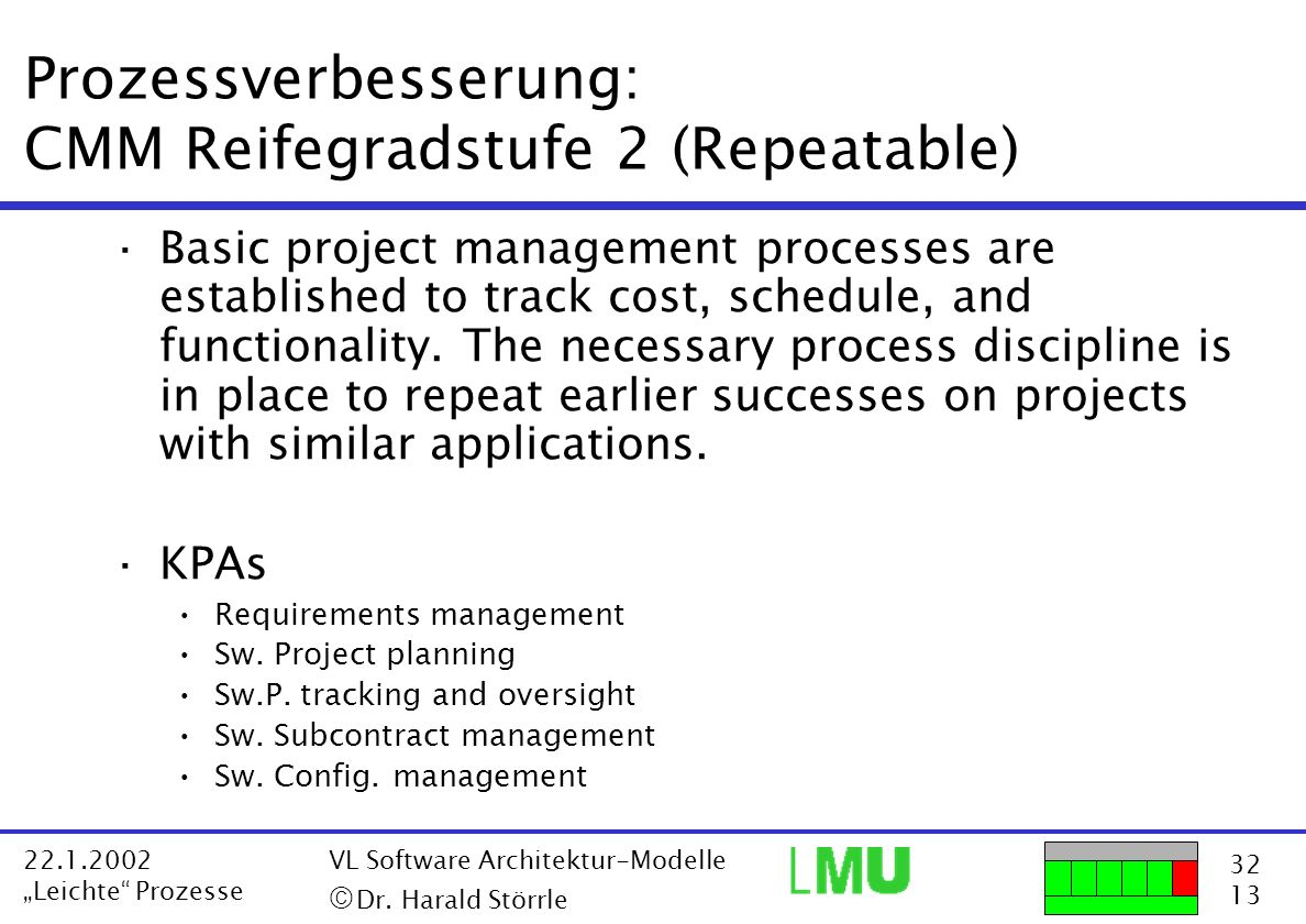 Prozessverbesserung: CMM Reifegradstufe 2 (Repeatable)