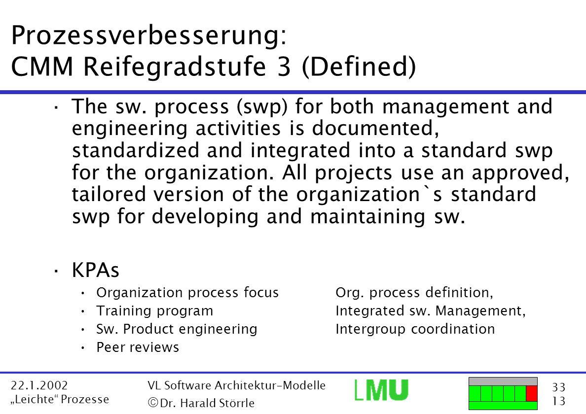 Prozessverbesserung: CMM Reifegradstufe 3 (Defined)