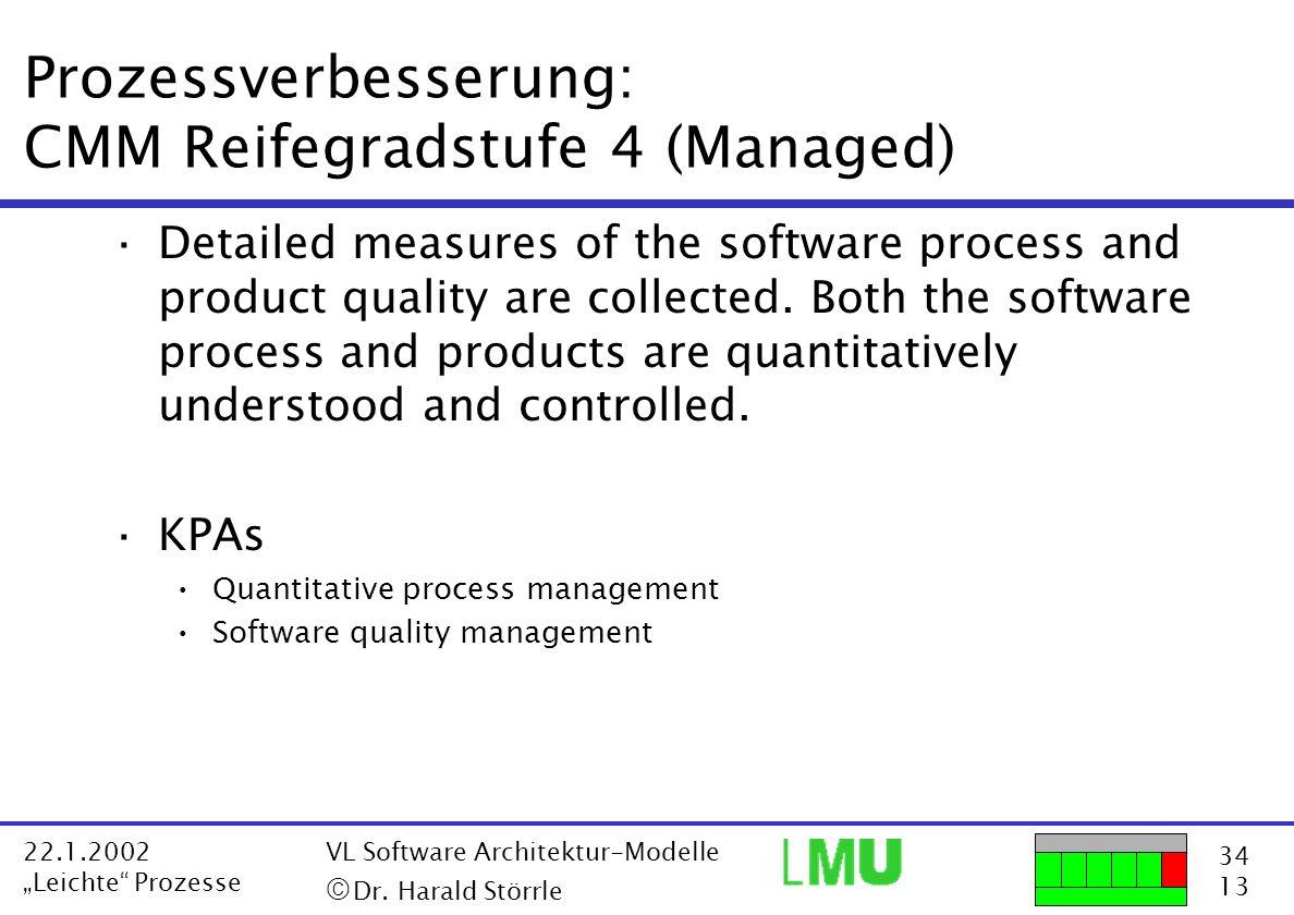 Prozessverbesserung: CMM Reifegradstufe 4 (Managed)