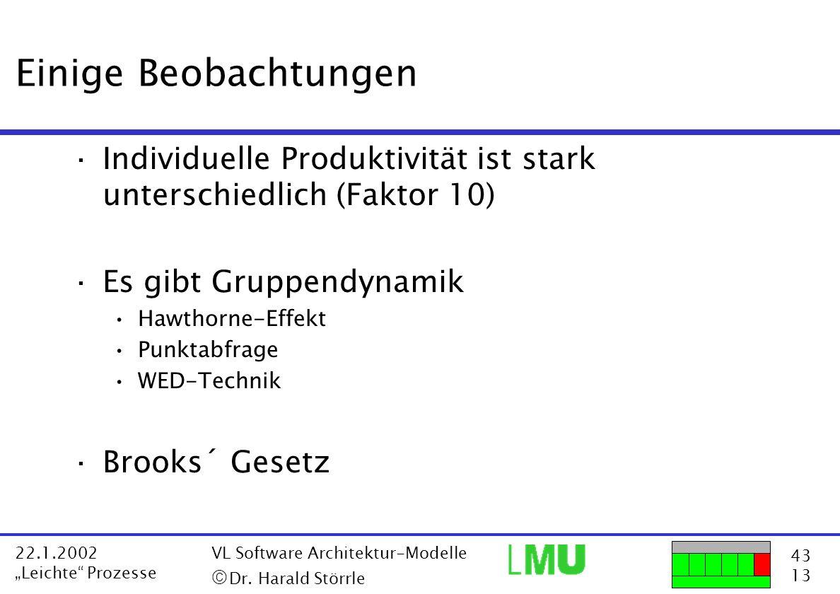 Einige BeobachtungenIndividuelle Produktivität ist stark unterschiedlich (Faktor 10) Es gibt Gruppendynamik.