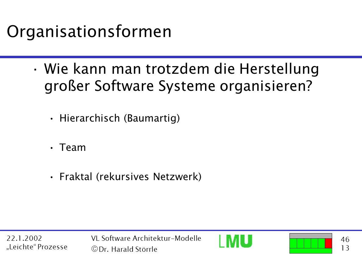 Organisationsformen Wie kann man trotzdem die Herstellung großer Software Systeme organisieren Hierarchisch (Baumartig)