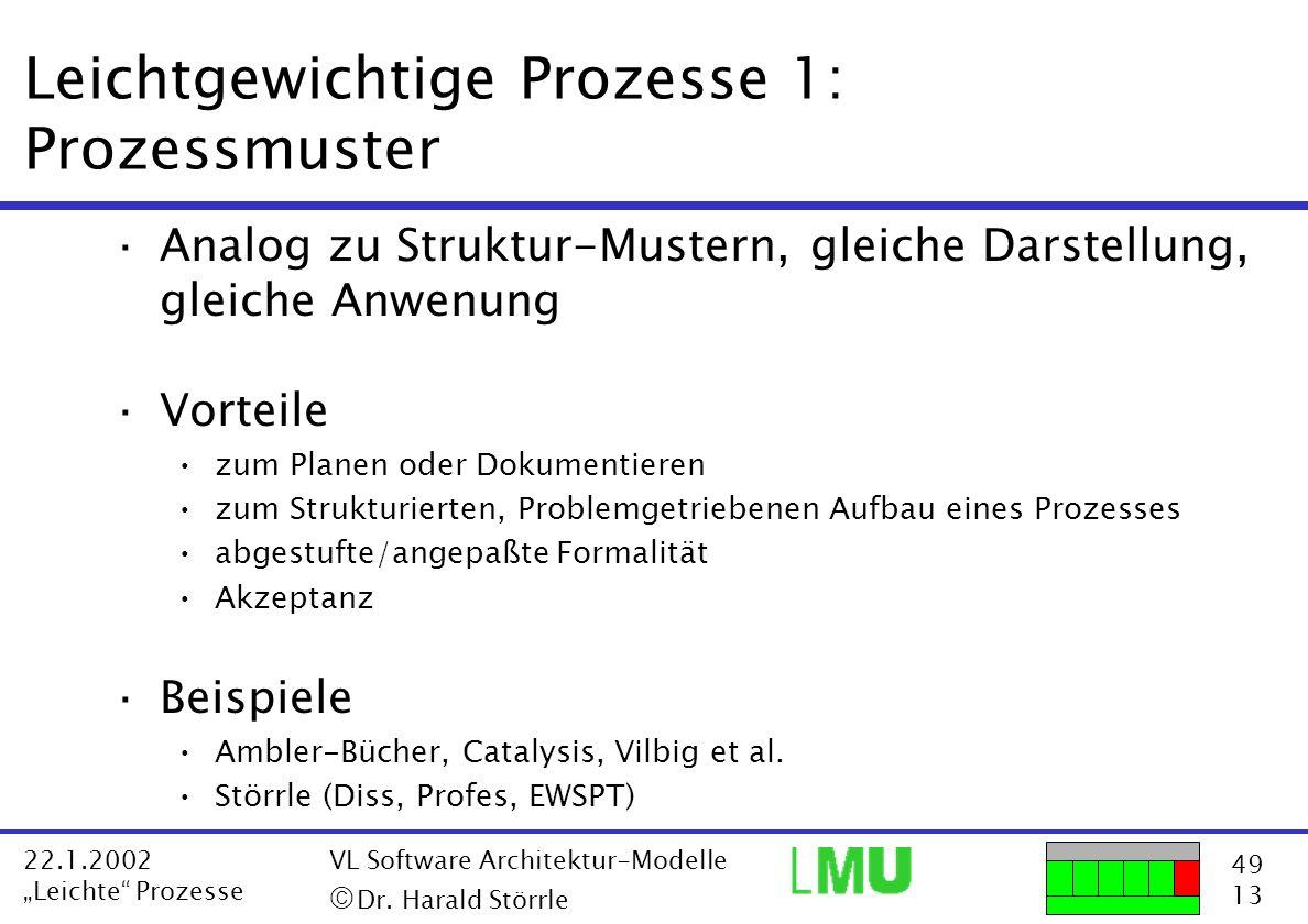 Leichtgewichtige Prozesse 1: Prozessmuster