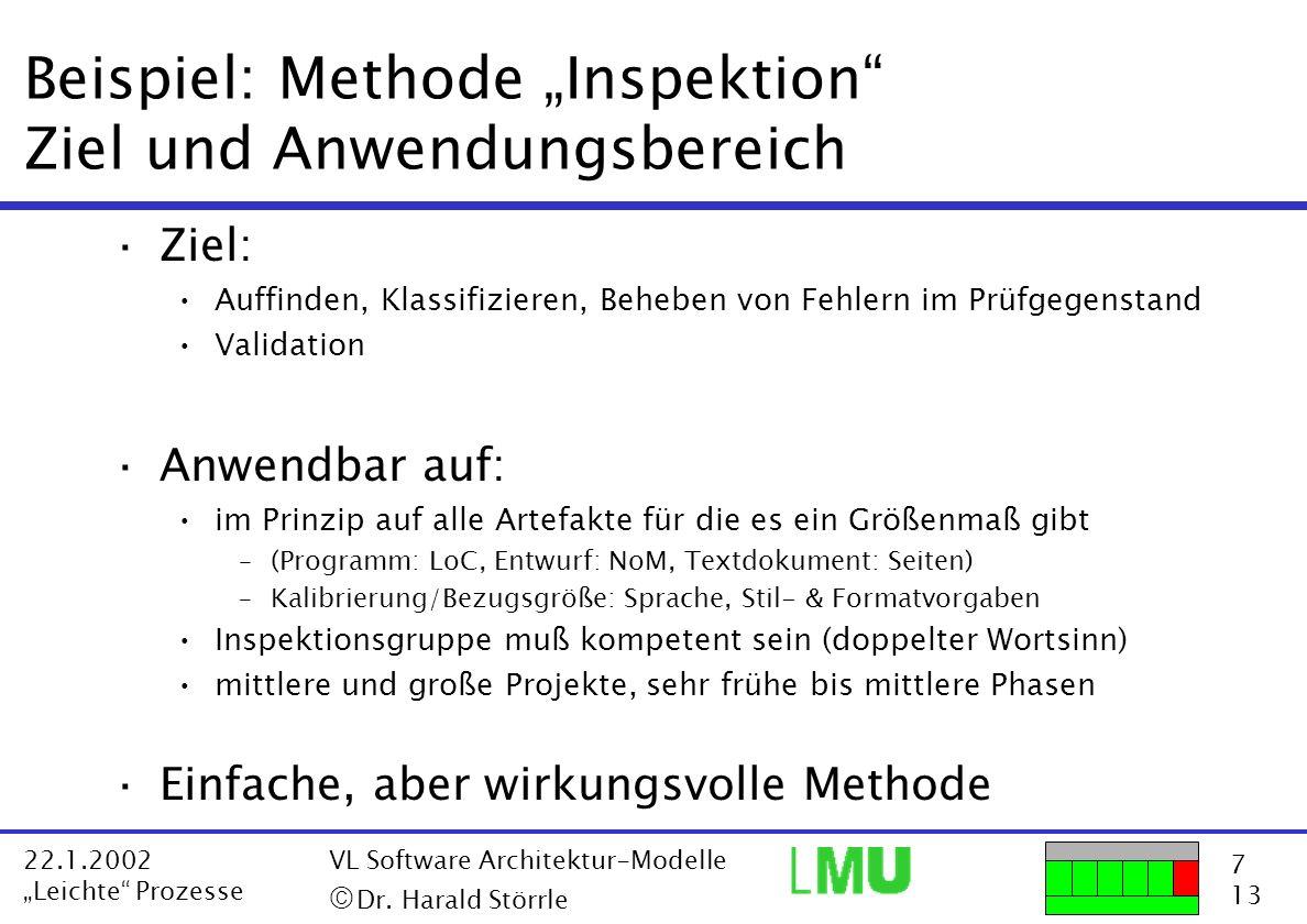 """Beispiel: Methode """"Inspektion Ziel und Anwendungsbereich"""