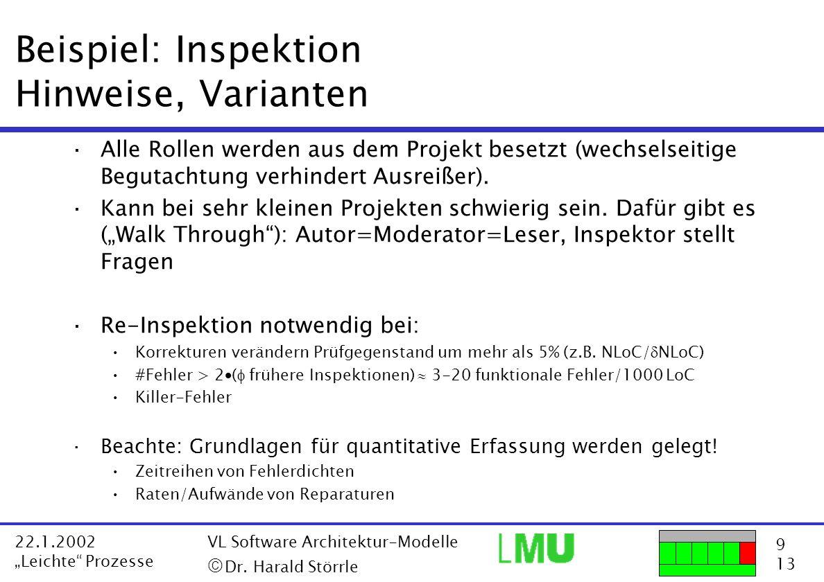Beispiel: Inspektion Hinweise, Varianten