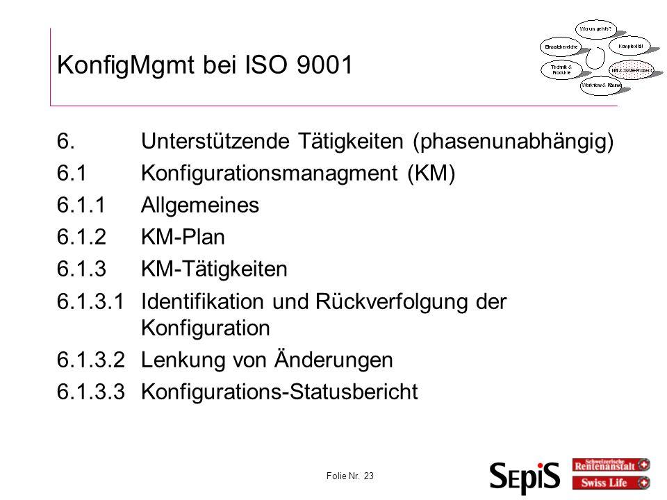 Vorlesung KonfigMgmt 27.03.2017. KonfigMgmt bei ISO 9001. 6. Unterstützende Tätigkeiten (phasenunabhängig)