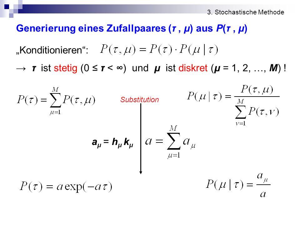 """Generierung eines Zufallpaares (τ , μ) aus P(τ , μ) """"Konditionieren :"""
