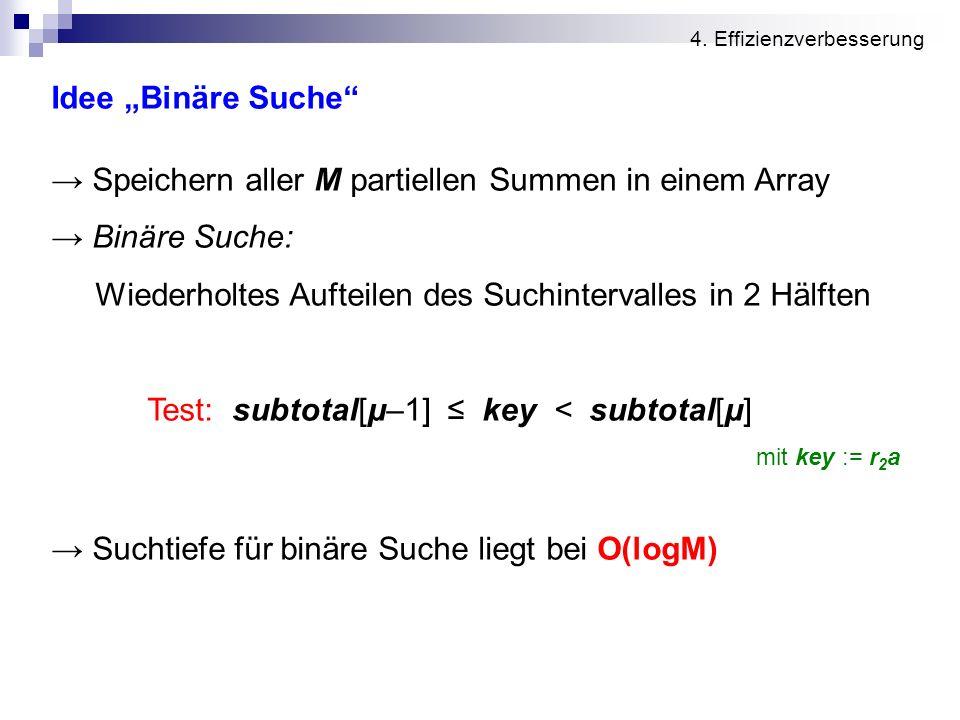 → Speichern aller M partiellen Summen in einem Array → Binäre Suche: