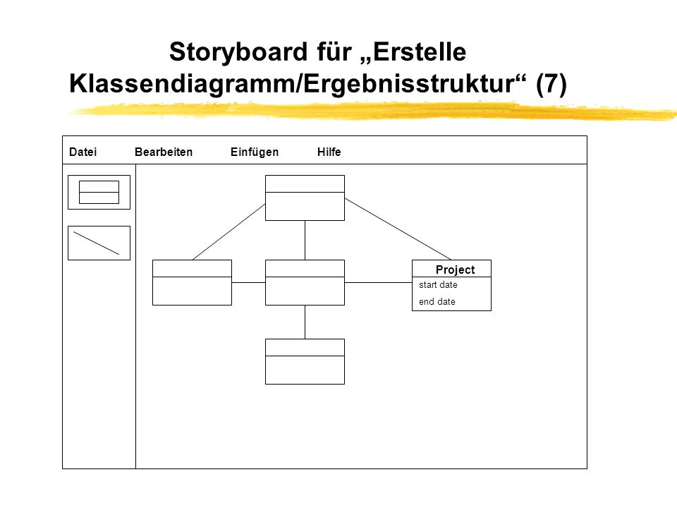 """Storyboard für """"Erstelle Klassendiagramm/Ergebnisstruktur (7)"""