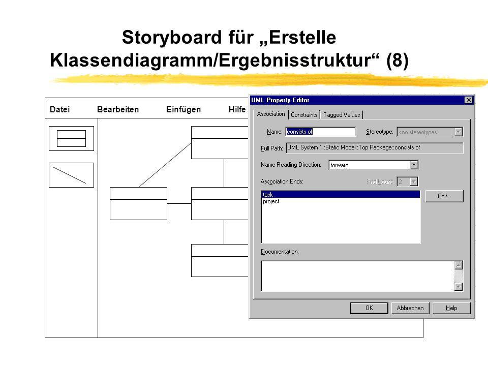 """Storyboard für """"Erstelle Klassendiagramm/Ergebnisstruktur (8)"""