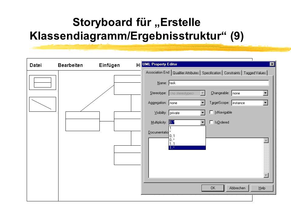 """Storyboard für """"Erstelle Klassendiagramm/Ergebnisstruktur (9)"""
