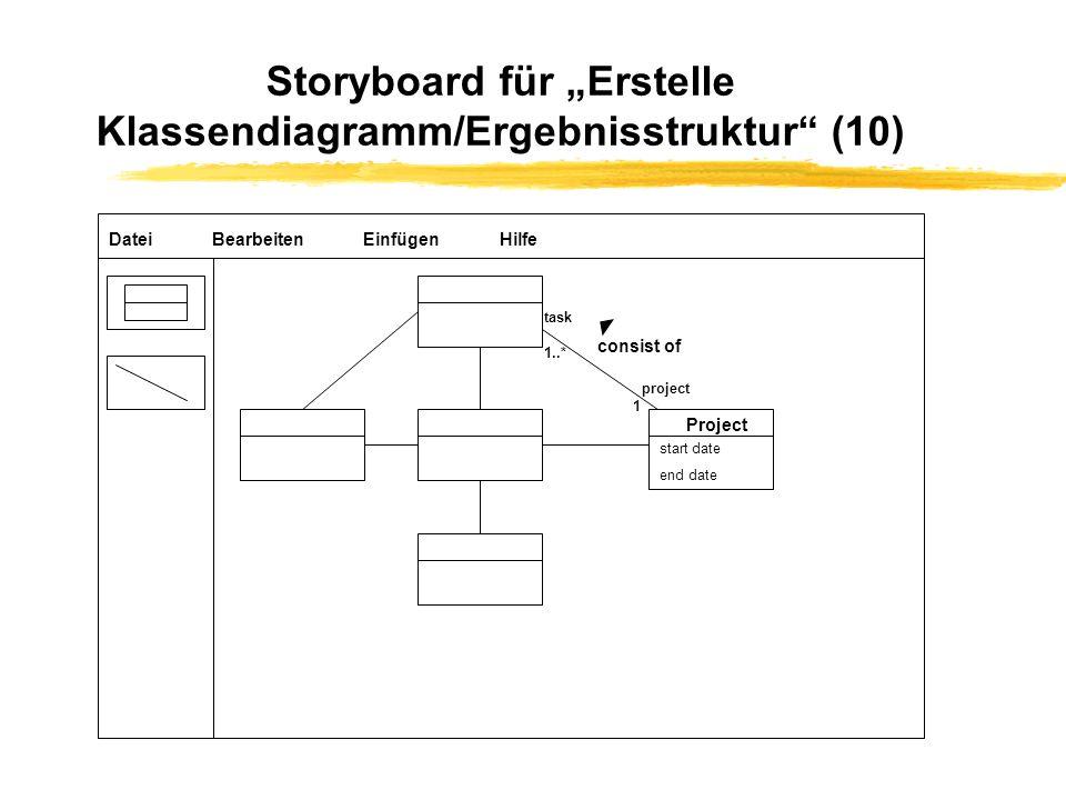 """Storyboard für """"Erstelle Klassendiagramm/Ergebnisstruktur (10)"""