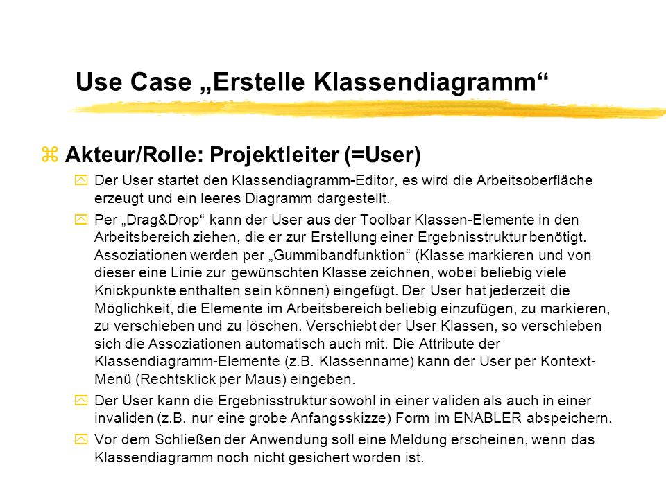 "Use Case ""Erstelle Klassendiagramm"