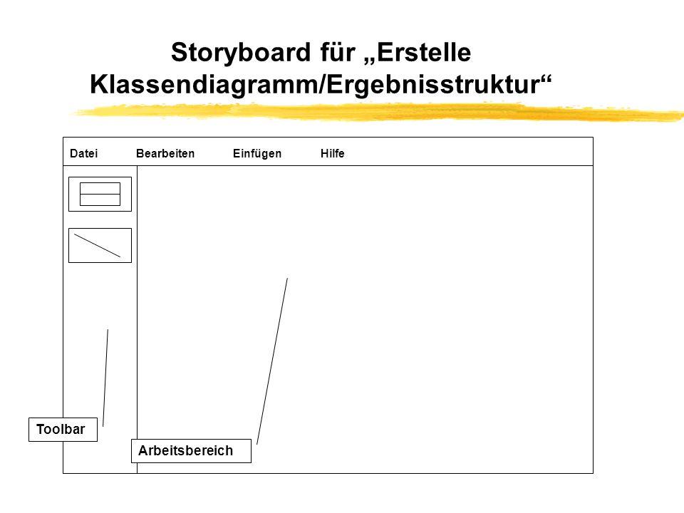 """Storyboard für """"Erstelle Klassendiagramm/Ergebnisstruktur"""
