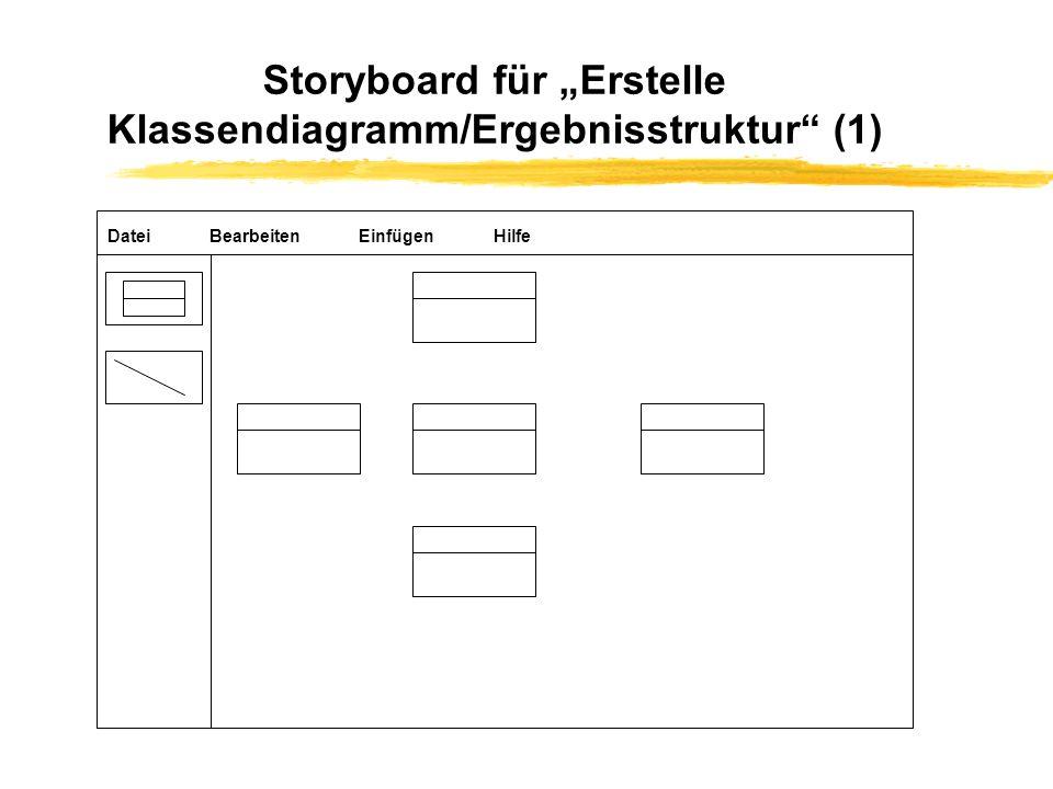 """Storyboard für """"Erstelle Klassendiagramm/Ergebnisstruktur (1)"""