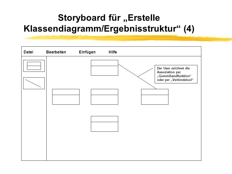 """Storyboard für """"Erstelle Klassendiagramm/Ergebnisstruktur (4)"""