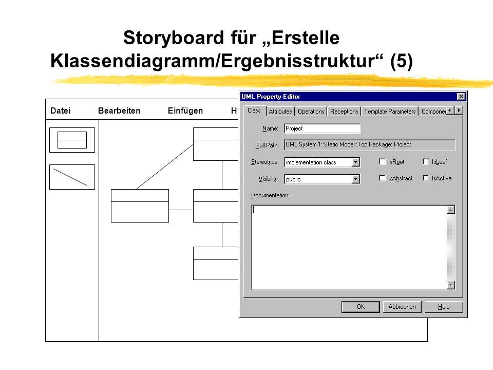 """Storyboard für """"Erstelle Klassendiagramm/Ergebnisstruktur (5)"""