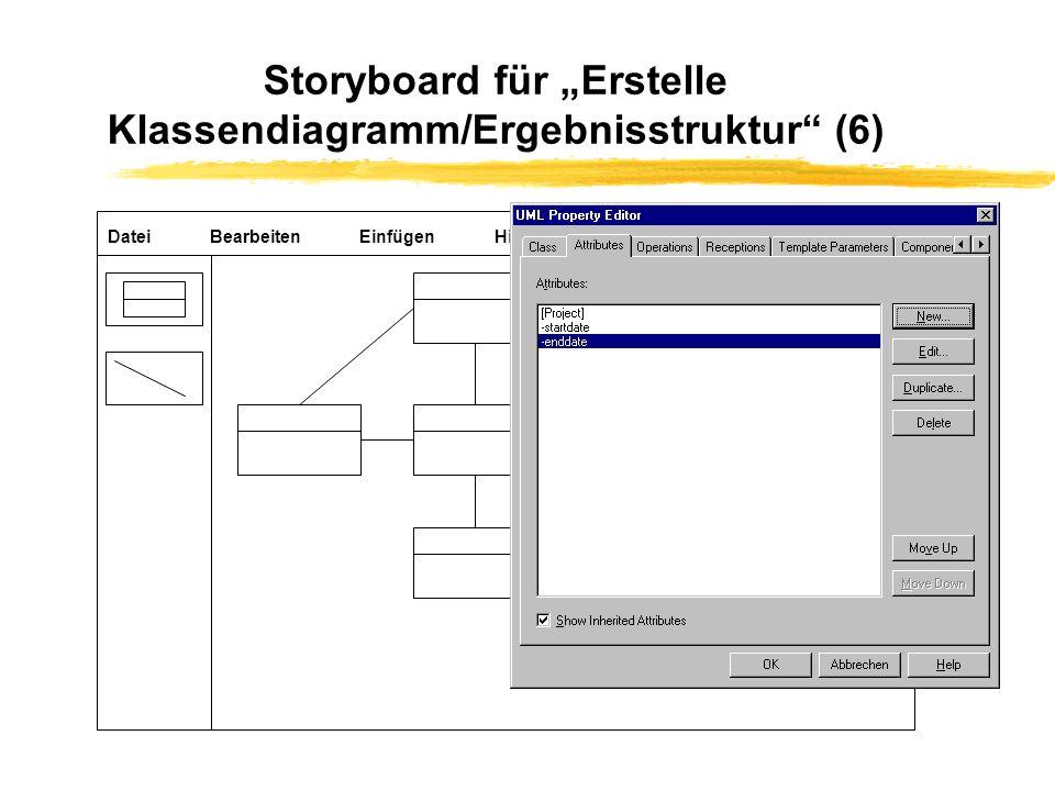 """Storyboard für """"Erstelle Klassendiagramm/Ergebnisstruktur (6)"""