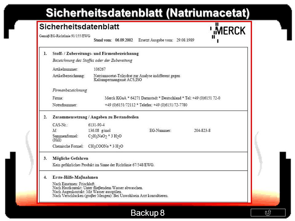 Sicherheitsdatenblatt (Natriumacetat)