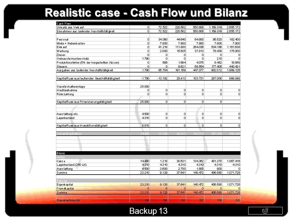 Realistic case - Cash Flow und Bilanz