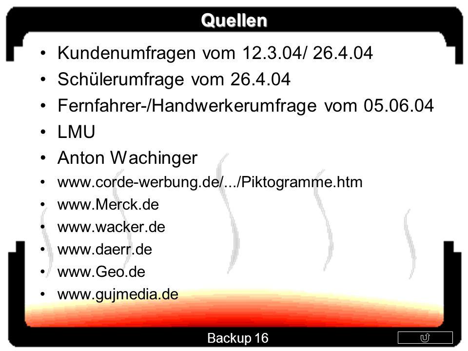 Fernfahrer-/Handwerkerumfrage vom 05.06.04 LMU Anton Wachinger
