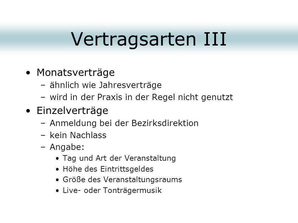 Vertragsarten III Monatsverträge Einzelverträge