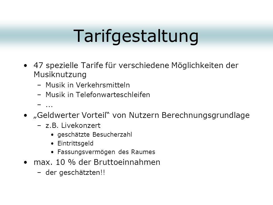 Tarifgestaltung 47 spezielle Tarife für verschiedene Möglichkeiten der Musiknutzung. Musik in Verkehrsmitteln.