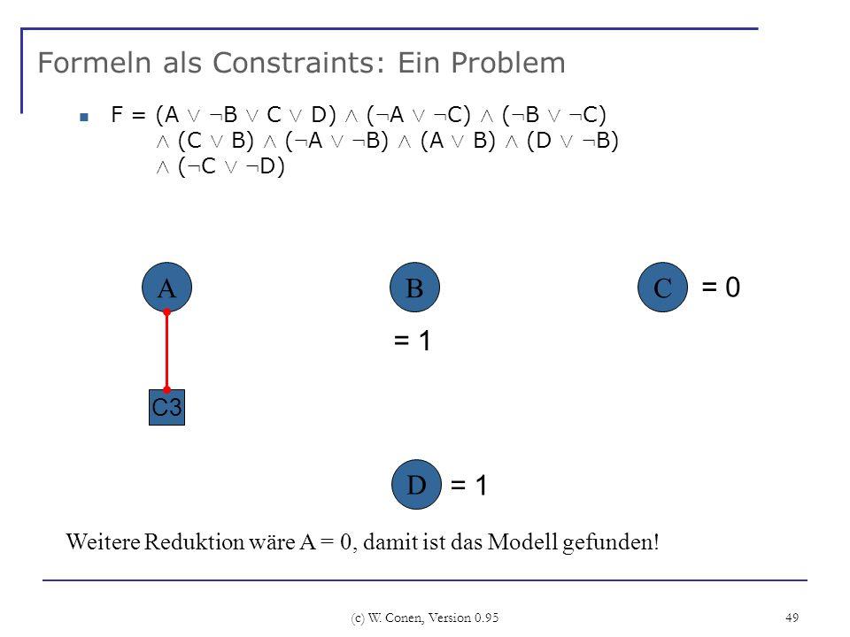 Formeln als Constraints: Ein Problem