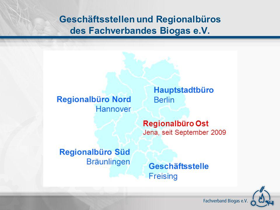 Geschäftsstellen und Regionalbüros des Fachverbandes Biogas e.V.