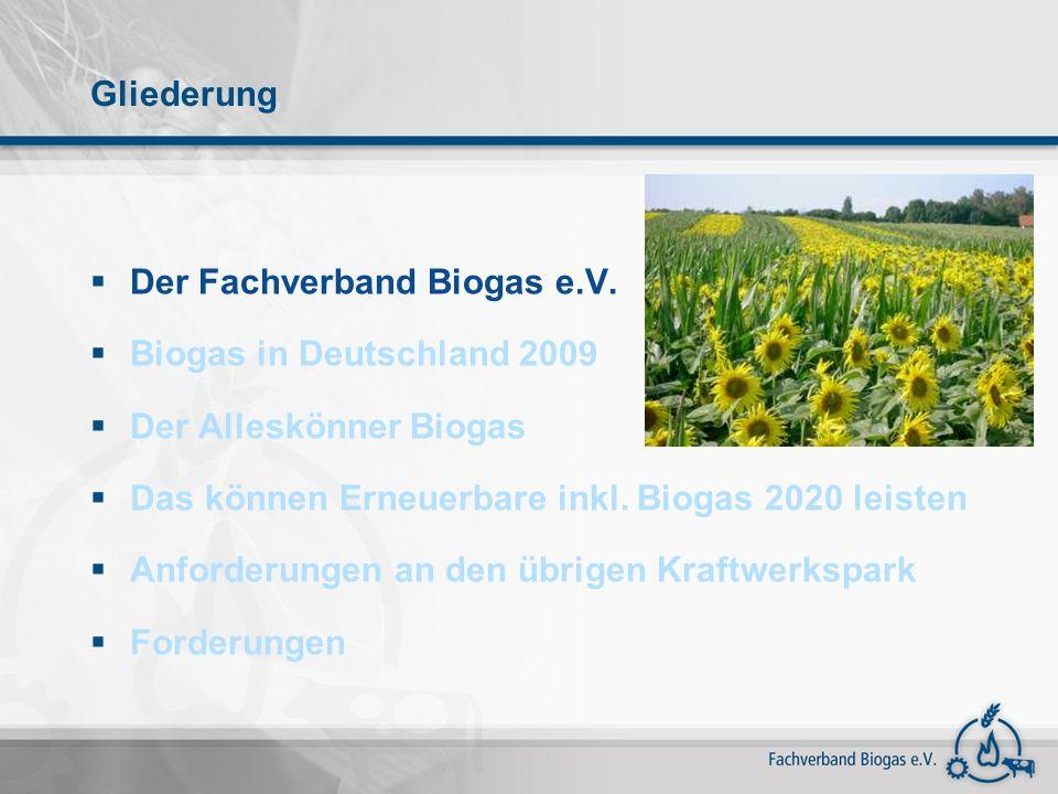 Gliederung Der Fachverband Biogas e.V. Biogas in Deutschland 2009. Der Alleskönner Biogas. Das können Erneuerbare inkl. Biogas 2020 leisten.