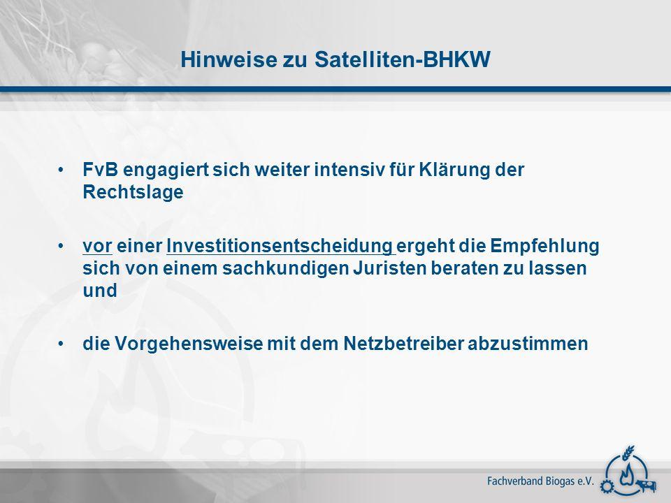 Hinweise zu Satelliten-BHKW
