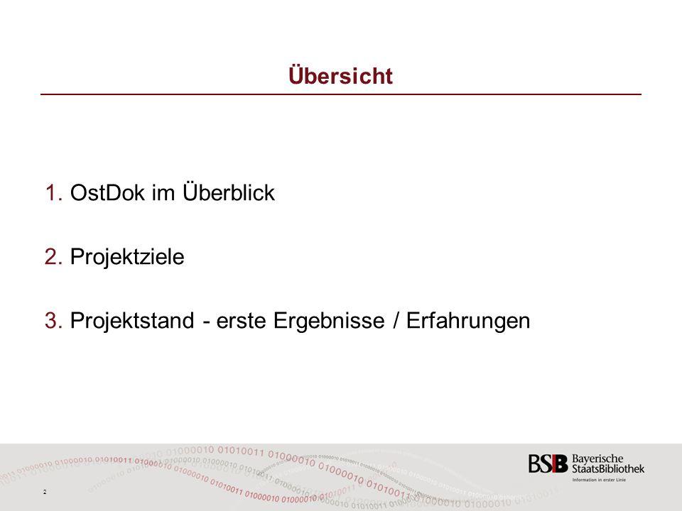 Übersicht OstDok im Überblick Projektziele Projektstand - erste Ergebnisse / Erfahrungen