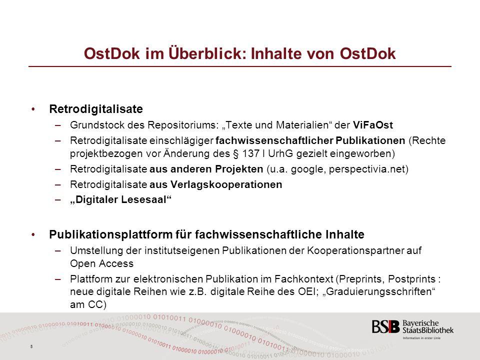 OstDok im Überblick: Inhalte von OstDok