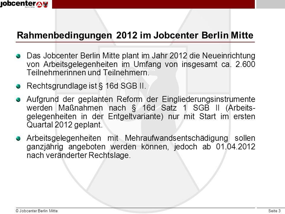Rahmenbedingungen 2012 im Jobcenter Berlin Mitte