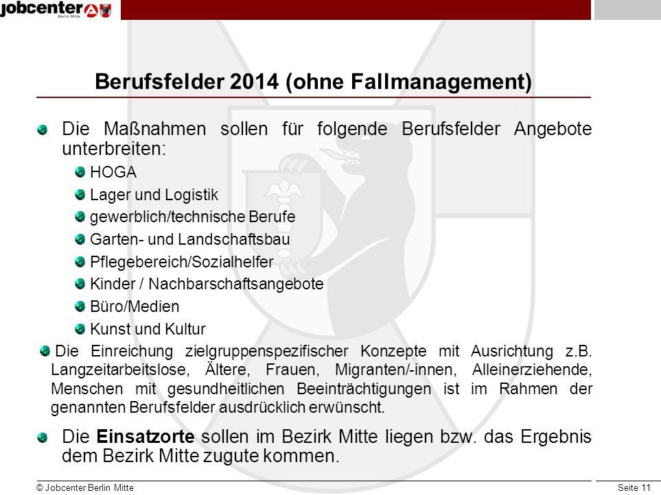 Berufsfelder 2014 (ohne Fallmanagement)