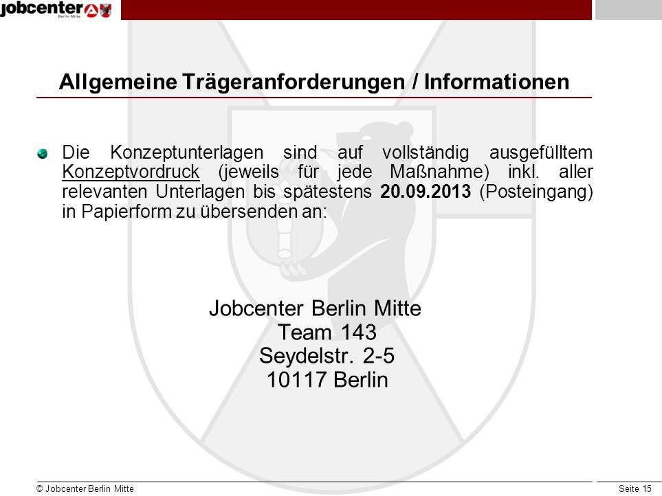 Allgemeine Trägeranforderungen / Informationen